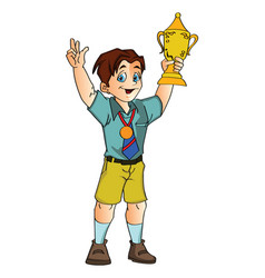 boy holding a trophy vector image vector image
