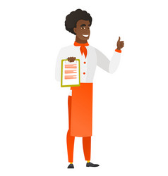 chef cook with clipboard giving thumb up vector image vector image