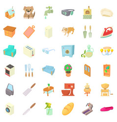 comfortable house icons set cartoon style vector image vector image