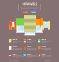 curtains world concept in flat design vector image vector image