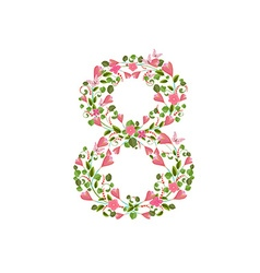 Floral font with spring pink flowers Romantic vector image vector image