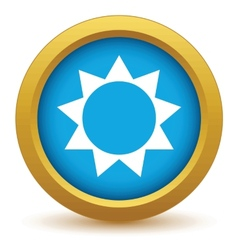 Gold sun icon vector image