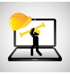 under construction web page worker tool vector image