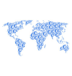 world map collage of euro symbol icons vector image