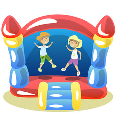 children are jumping on a trampoline vector image vector image