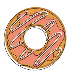 donut with chocolate glazed in watercolor vector image vector image