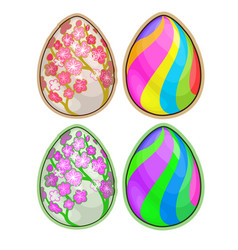 easter eggs with floral and striped pattern vector image