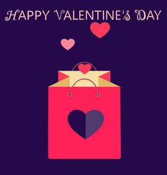 Pink shopping bag with heart valentines day sale vector