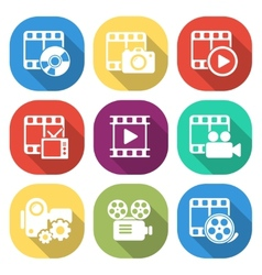 Trendy flat media icon pack vector image vector image