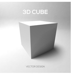 Cube 3D on gray background vector image