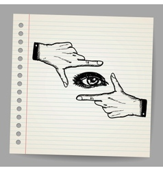 Doodle of two hands and eye being used to frame a vector image vector image