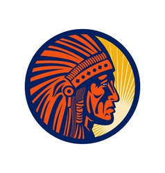 Native american indian chief warrior side vector