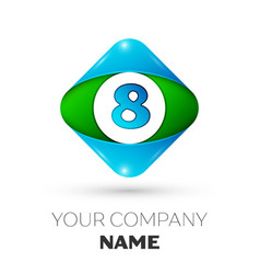 Realistic number eight in colorful rhombus vector