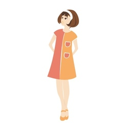 Retro woman in a dress vector image