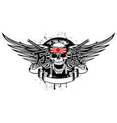skull with band and swords vector image vector image
