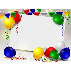 Birthday card with colorful balloons vector image vector image