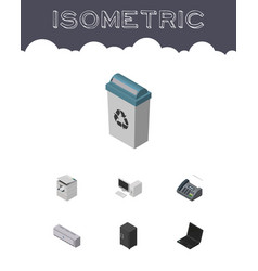 Isometric work set of garbage container office vector