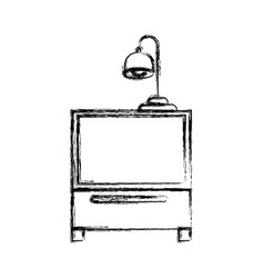 monochrome blurred silhouette of nightstand with vector image vector image