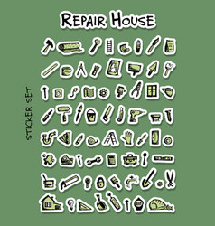 repair icons sticker set for your design vector image