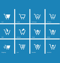 Shopping cart icons on blue background vector image vector image