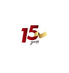 15 years anniversary celebration gold ribbon vector
