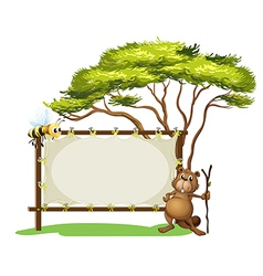 A beaver with a stick near a blank signage vector image