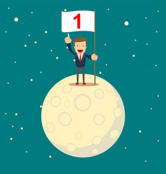 a man in a business suit conquered the moon start vector image