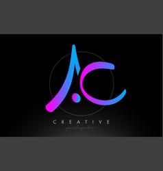 Ac artistic brush letter logo handwritten vector