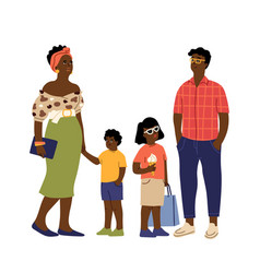 afro american family cute kids parents casual vector image