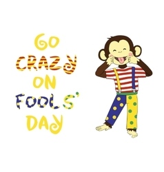 April 1 fools day cartoon funny banner vector image