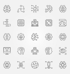 Artificial intelligence icons set robot vector