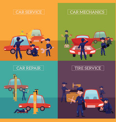 Banners with mechanics repairing servicing cars vector
