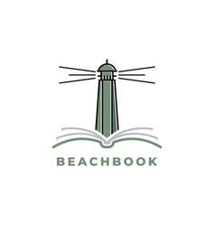 beacon with book logo design inspiration vector image