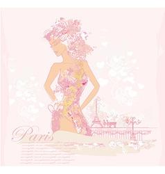 Beautiful abstract women in Paris card vector