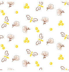 bee and florals seamless pattern hand vector image