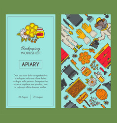 beekeeping set banners apiary vector image