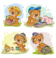Brown teddy bear farmer vector