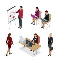 Business woman isometric set woman vector
