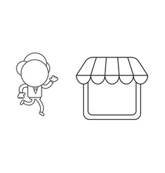 Businessman character running to shop store black vector