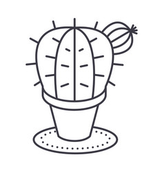 cactus line icon sign on vector image