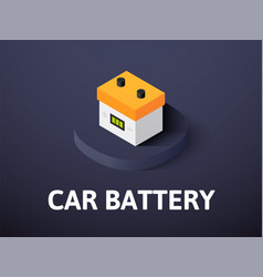 Car battery isometric icon isolated on color vector