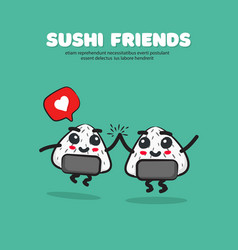 cartoon cute sushi with vector image