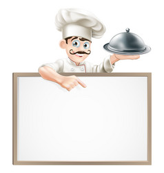 Chef pointing at sign vector