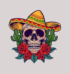 cinco de mayo mexican skull logo mascot vector image