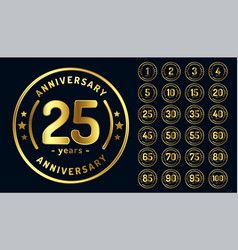 Circular anniversary emblems or labels in golden vector