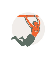 Crossfit Pull Up Bar Circle Retro vector