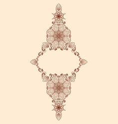decorative floral mandala frame element on beige vector image