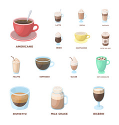 Different kinds of coffee cartoon icons in set vector