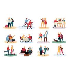 Elderly people activities set vector