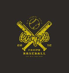 Emblem of baseball campus team vector